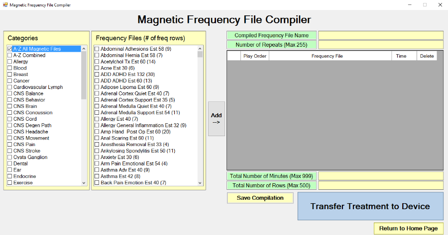 Magnetic Frequency File Compiler screen
