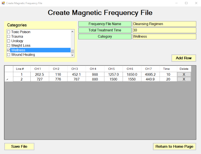 populated Create Magnetic Frequency File spreadsheet screen