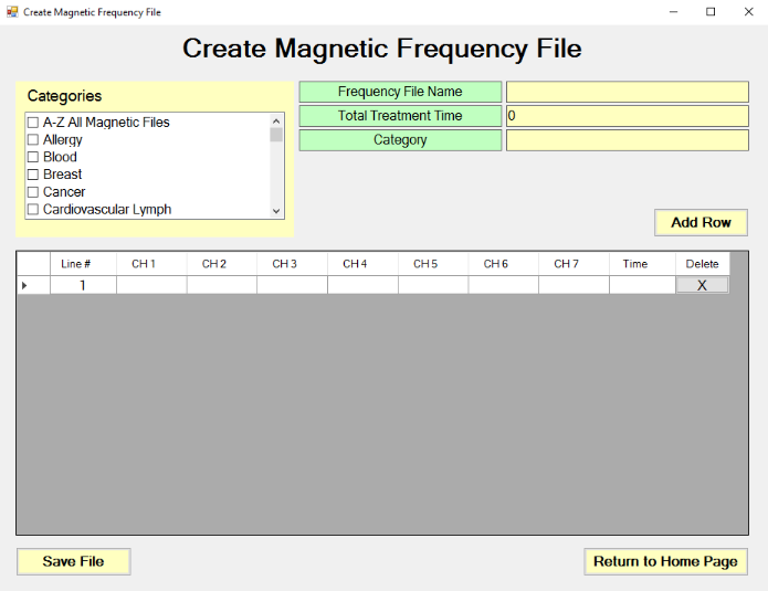 Create Magnetic Frequency File screen