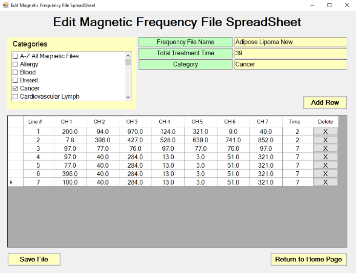 Edit Magnetic Frequency File Spreadsheet screen