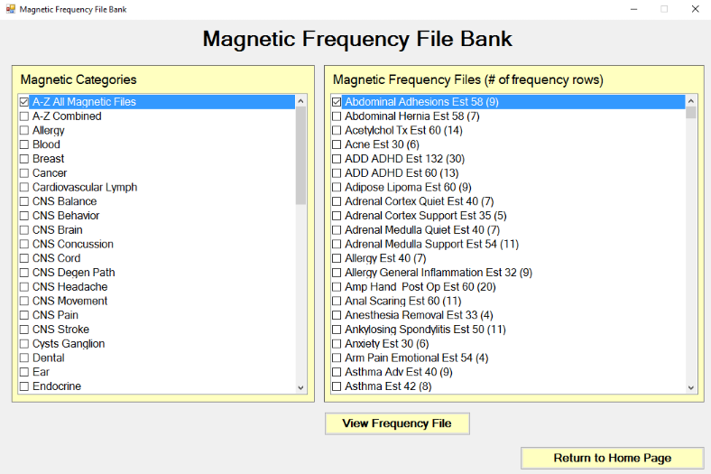 Magnetic Frequency File Bank screen