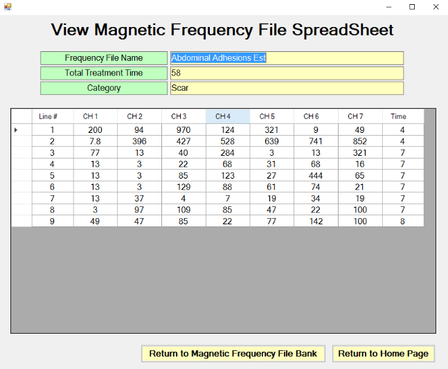 View Magnetic Frequency File Spreadsheet screen